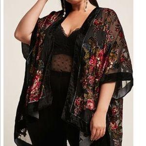 Woven Heart Black Floral Velvet Burnout Poncho